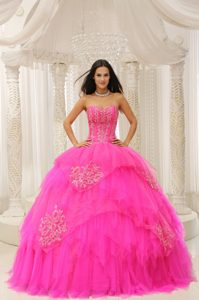 Inexpensive Hot Pink Sweetheart Embroidery Quinceanera Dress to Floor Length