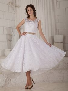 Scoop Princess Tea-length Garden Wedding Dress with Brown Sash and Buttons