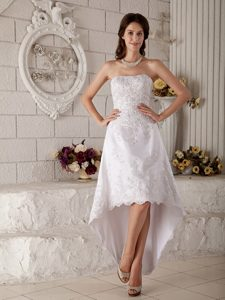 Princess Strapless High-low Dress for Wedding with Buttons in Lace and Taffeta