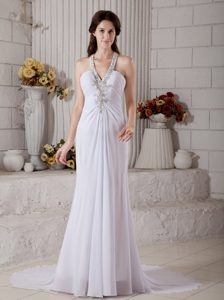 V-neck Ruched Wedding Dress for Women with Appliques for Summer