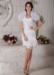 Sweetheart Short Dress for Summer Wedding in and Organza with Ruches