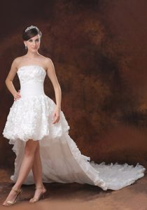 High-low Cathedral Train Wedding Dress for Women with Rolling Flowers in 2013
