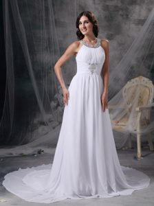 2014 Scoop Court Train Chiffon Prom Wedding Dress with Beadings and Ruches