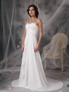 Empire Sweetheart Summer Wedding Dress with Court Train and Beads