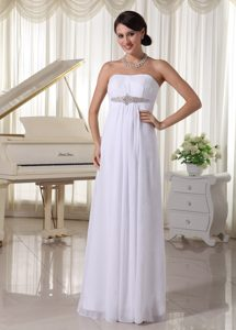 Pretty Simple Empire Strapless Wedding Party Dress with Beadings in Floor-length