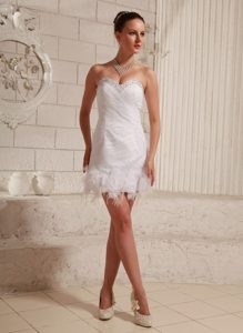 Sweetheart Beaded Women Wedding Dress with Ruches and