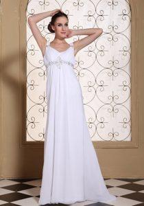 Elegant Chiffon V-neck Wedding Dress with Beadings and Lace Up Back for 2013