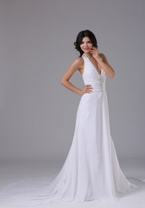 Halter Top Beading Prom Wedding Dress with Ruches and Buttons on Promotion