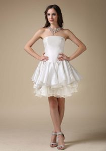 2013 A-line Mini-length Wedding Party Dress with Strapless in and Organza