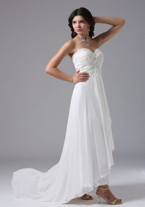 Custom Made High-low Appliqued Women Wedding Dress with Sweetheart Neck