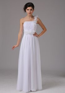 One Shoulder Beauty Prom Wedding Dress and Ruches