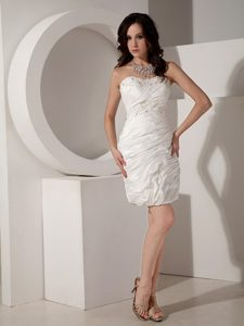 Sweetheart Mini-length Ruched Bridal Wedding Dresses in with Appliques