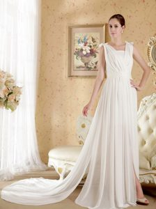 Empire V-neck Beaded Wedding Party Dress with Bowknots and Ruches for 2013