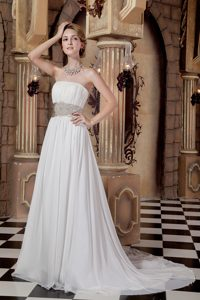 Wholesale Chiffon A-line Strapless Prom Wedding Dress with Sash and Beadings