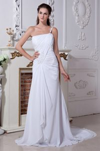 Discount 2012 One Shoulder Wedding Party Dress with Ruches and Lace Up Back
