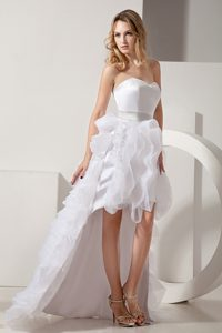 High-low Ruffled Prom Wedding Dress with Sweetheart and Organza