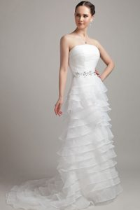 Brand New A-line Beading Bridal Wedding Dress with Ruches and Ruffled Layers