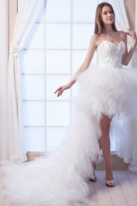 High-low Ruffled and Beaded Dresses for Summer Wedding with Sweetheart