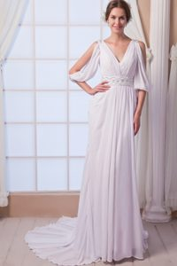 Beautiful Empire V-neck Wedding Party Dress with Beads and Ruches