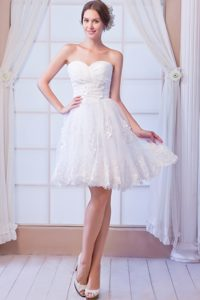 White A-line Sweetheart Wedding Dress with Ruches and Appliques in Mini-length