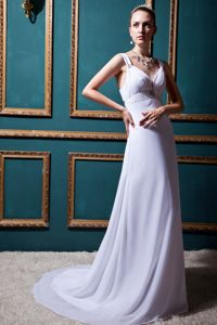 Fashionable V-neck Outdoor Wedding Dresses with Ruches and Beadings in Lilac