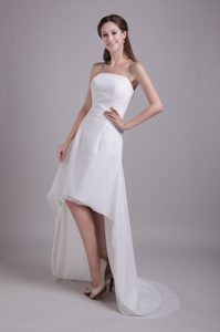Stylish Princess Strapless High-low Dress for Wedding with Beadings and Ruches