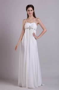 Best Chiffon Empire Beading Wedding Dress with Spaghetti Straps in Long