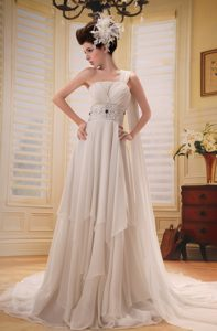 Ruching and Beading Prom Wedding Dress with One Shoulder and Watteau Train
