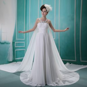 V-neck Beaded and Ruched Outdoor Wedding Dress with Watteau Train on Sale