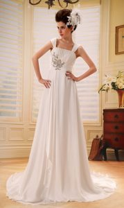Appliqued Dresses for Wedding with Wide Straps and Ruches for 2013