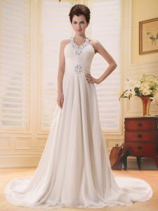 Dressy V-neck Empire Chiffon Church Wedding Dress with Beadings and Buttons
