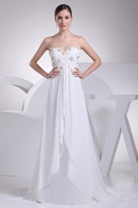 Sweetheart Brush Train Chiffon Dress for Wedding with Beading and Ruching