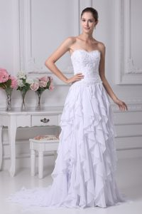 New Sweetheart Brush Train Wedding Dress with Beading and Layered Ruffles