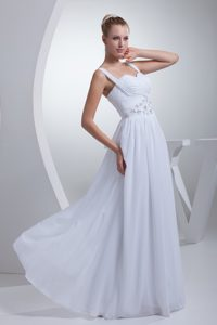 Straps Long Beaded Chiffon Maternity Wedding Dresses with Ruching