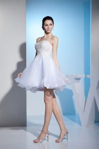Strapless Mini-length White Organza Wedding Dress with Appliques for Less