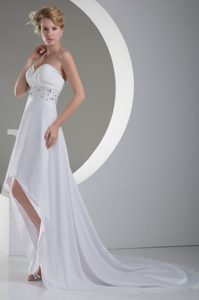 Sweetheart High-low Ruched Chiffon Summer Wedding Dresses with Beading