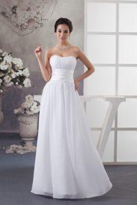 2014 Sweetheart Long Chiffon Summer Wedding Dress with Ruching