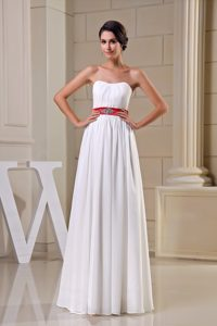 Strapless Long Ruched Chiffon Wedding Dress with Red Beaded Belt