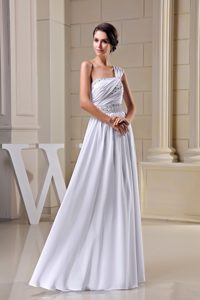 New One Shoulder Long Ruched Chiffon Wedding Dress with Beading