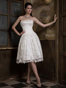 Cheap Strapless Knee-length Ruched Satin and Lace Princess Wedding Dress