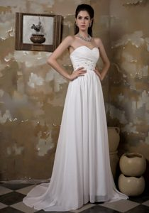 Sweetheart Brush Train Chiffon Dress for Wedding with Ruching and Beading