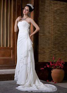 Sweetheart Brush Train Ruched Layered Chiffon Wedding Dress with Flowers