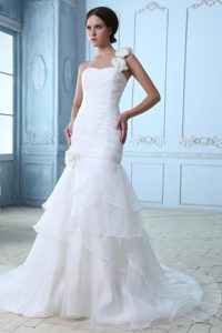 Pretty One Shoulder Court Train Ruched Layered Wedding Dress with Flowers