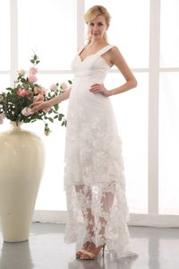 Cheap Straps Ankle-length Ruched Chiffon and Lace Maternity Wedding Dress