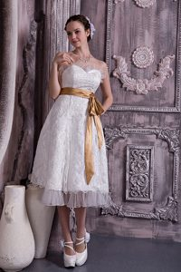 Strapless Tea-length Flounced Lace Wedding Dress with Gold Sash for Cheap