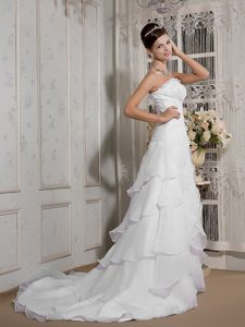 Strapless Court Train Ruched Organza Wedding Dresses with Layered Ruffles