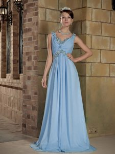 V-neck Straps Brush Train Baby Blue Chiffon Wedding Dresses with Beading