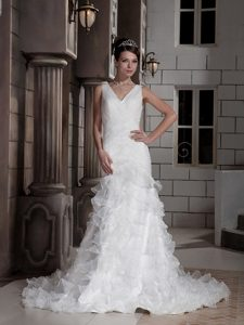 Chic V-neck Court Train Ruched Organza Wedding Dress with Layered Ruffles
