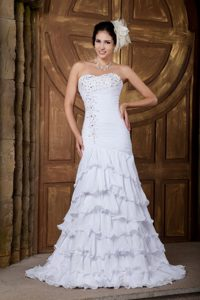 Sweetheart Brush Train Ruched Layered Chiffon Wedding Dress with Beading