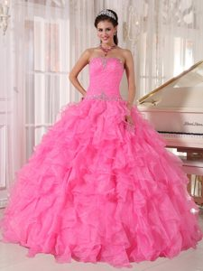 Hot Pink Sweetheart Organza Sweet 16 Dress with Ruffles and Beading on Sale